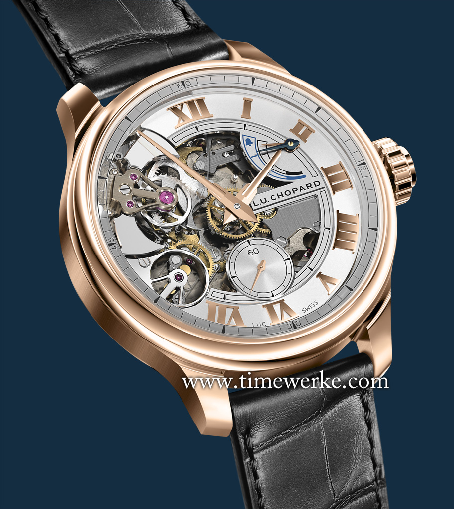 Chopard L.U.C Full Strike in 18K rose gold. Commemorating the 20th anniversary of Chopard Manufacture (2006 to 2016), it features the brand's in-house Manufacture Calibre L.U.C 08.01-L manual-winding movement that is chronometer-certified and bears the Poinçon de Genève hallmark. Its steel hammers strike on sapphire gongs. Limited to 20 pieces. Photo: © Chopard