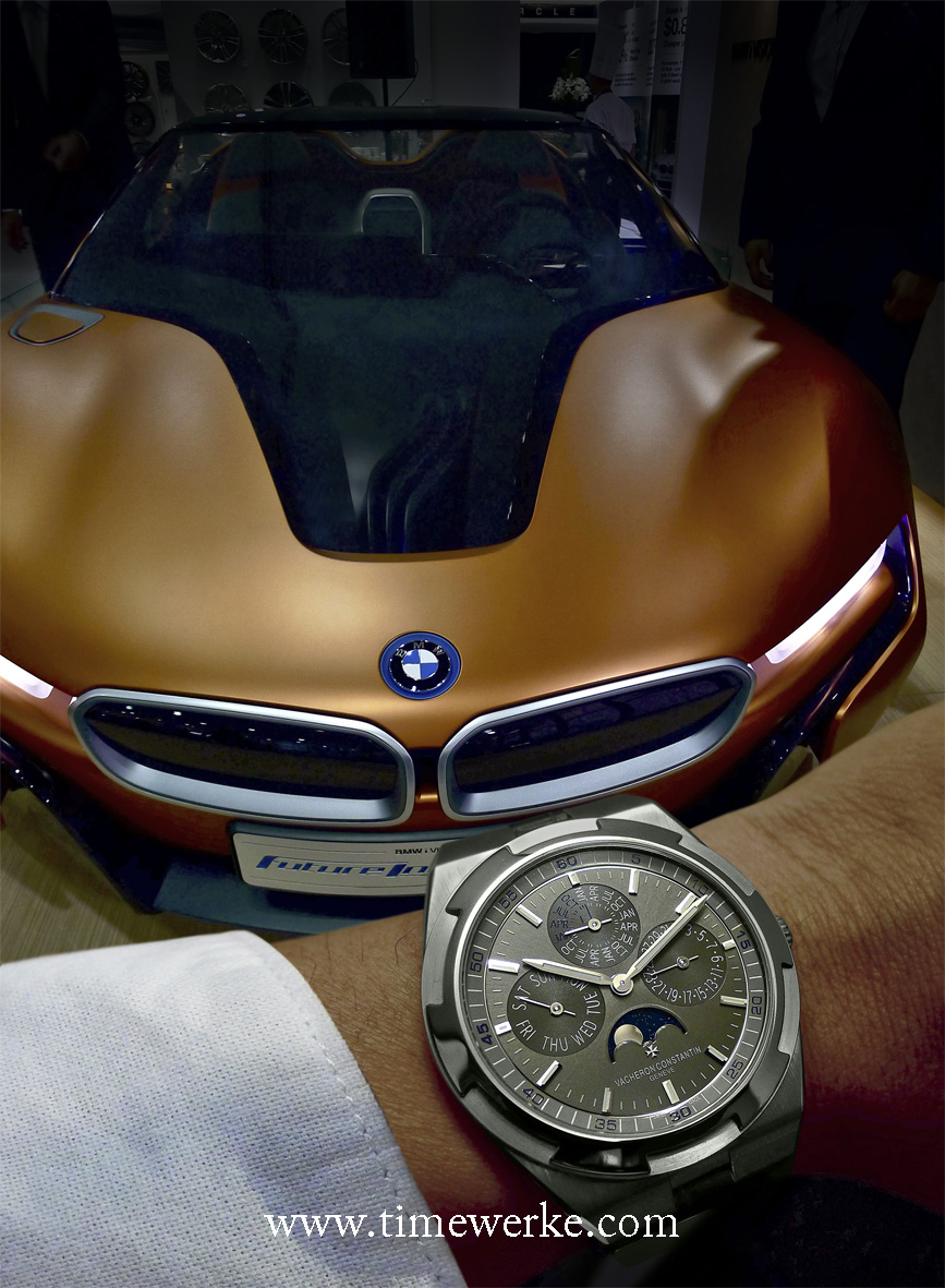 The BMW i-Vision Future Interaction Concept Car is the electric smartcar of the future while Vacheron Constantin's Overseas ultra-thin perpetual calendar is the mechanical smartwatch of the present. Photo: © TANG Portfolio. Elfa / Timmy.
